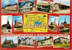 Moderne Karte Eglises et Maisons a Pans de Bois du Der Outines Ceffonds Lesmont Nuisement Lentilles Chavanges