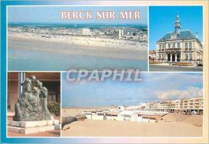 Moderne Karte Berck sur Mer (Pas de Calais) la Plage Statue de Marianne toute seule l'Esplanade l'Hotel de Vil
