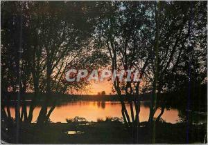 Moderne Karte Sille le Guillaume (Sarthe) Sille Plage Coucher de Soleil sur le Lac