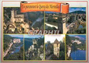 Moderne Karte En Parcourant le Quercy des Merveilles St Cirq Lapopie Cahors Bouzies Rocamadour Carennac Belcas