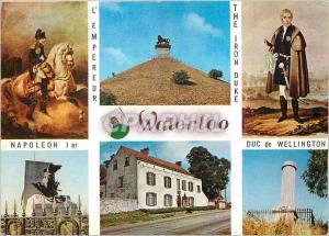 Moderne Karte Waterloo l'Empereur Napoleon Ier Duc de Wellington la Caillou Monuments Francais et Britannique