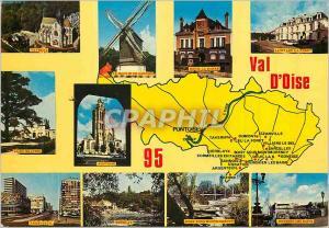 Moderne Karte Val d'Oise Pontoise Taverny Moulin de Sannois Saint Leu la Foret Saint gratien Argenteuil