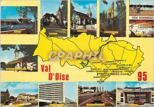 Moderne Karte Val d'Oise  Chef Lieu Pontoise Cergy Domont Sarcelles Montmorency Piscine Garges les Gonesse Vil