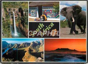 Moderne Karte South Africa Mac Mac Falls Ndebele Woman Elephant Blyde Canyon Cape Town