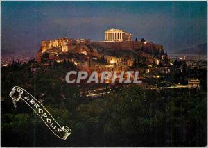 Moderne Karte Athenes L'Acropole Illuminee