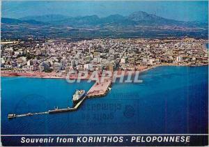 Moderne Karte Souvenir de Corinthe Photo prise d'avion