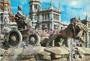Moderne Karte Madrid Cibeles et Palais de Communications Lion