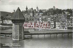 Moderne Karte Luzern Kapellbrucke Wasserturm und Museggturme