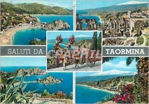 Moderne Karte Salutations de Taormina Caleche Cheval