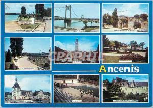 Moderne Karte Ancenis  (Loire Atlantique) La statue de Joachim du Bellay Le pont sur la Loire