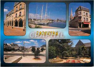 Moderne Karte Carentan  (Manche) la Place de la Republique le Port de Plaisance La place du marche aux pommes
