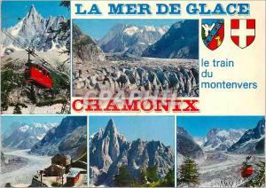 Moderne Karte Chamonix Mont Blanc (Hte Savoie) alt 1037m la Mer de Glace Teleferique