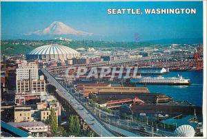 Moderne Karte The Seattle Washington Waterfront with the King Dome and the Alaskan Way Viaduct Snow Covered Ba