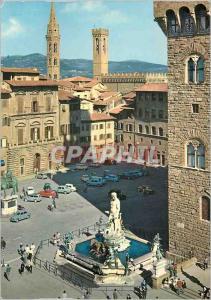 Moderne Karte Firenze Place Signoria avec le Clocher de la Badia et le Bargello