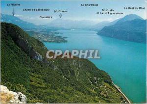 Moderne Karte Lac du Bourget (Savoie) Images de Chez nous Belvedere de la Chambotte (842 m)