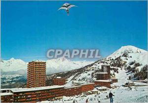 Moderne Karte La Plagne Vue sur le Front de Neige La Chaine du Mont Blanc au Second Plan et un Delta Plane Del