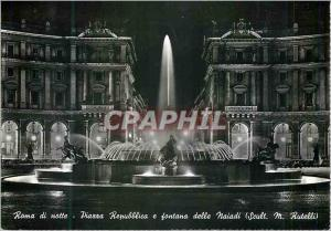 Moderne Karte Roma di notte Piarra Repubblica e fontana delle Naiadi (Scult M Rutelli)
