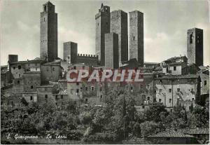 Moderne Karte Citta di S Gimignano (Siena) Le Torri