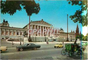 Moderne Karte Vienne Parlement avec l'Hotel de Ville Caleche Cheval