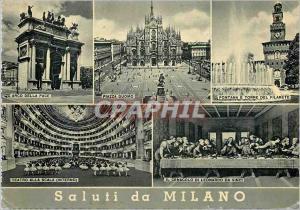 Moderne Karte Salutations de Milan