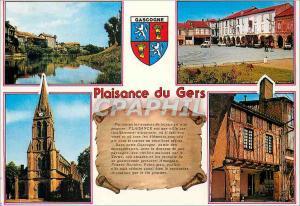 Moderne Karte Plaisance du Gers (Gers) Les Vieilles Maisons et le Tertre Place de l'Eglise L'Eglise Vieille Ma