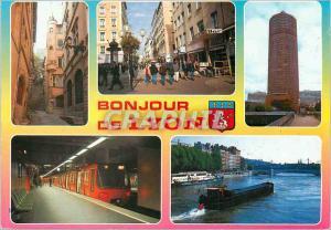 Moderne Karte Lyon Le Vieux Lyon Rue Victor Huggo Tour de la Part Dieu Le Metro La Saone Peniche Bateau