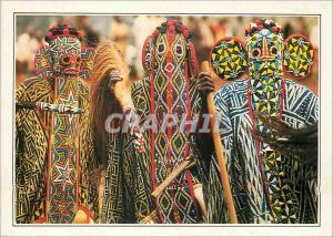 Moderne Karte Bandjoun (Cameroun) Danseurs Bamilekes Masques Dans la Chefferie de l'ancien Royaume de Bandjoun