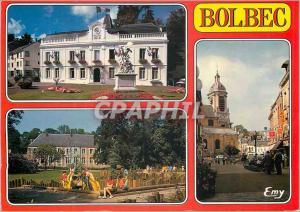 Moderne Karte Bolbec (Seine Maritime) L'Hotel de Ville La Rue de la Republique Le Jardin public Val aux Gres