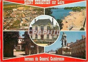 Moderne Karte Saint Sebastien sur Loire Couleurs de Bretagne Vue Generale la Plage La Mairie La Maison Natale