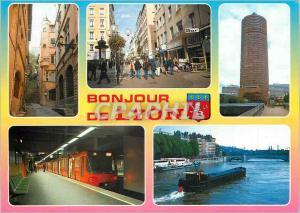 Moderne Karte Bonjour de Lyon Le Vieux Lyon Rue Victor Hugo Tour de la Part Dieu Le Metro La Saone Metro Penic