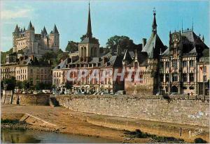 Moderne Karte Saumur (Maine et Loire) les Merveilles du Val de Loire la Loire et de Gauche a Droite le Chateau