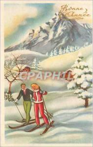 Ansichtskarte AK Bonne Annee Ski