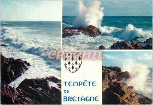 Moderne Karte La Bretagne en Couleurs Mer Houleuse et Tempete de Bretagne