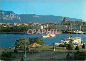 Moderne Karte Suisse Geneve la Rade Bateaux