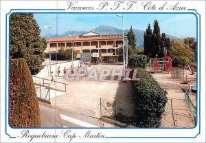 Moderne Karte Roquebrune Cap Martin Cote d'Azur Vacances PTT Avenue Bellevue Petanque Basket-Ball Basket Ball