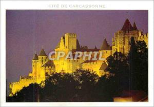 Moderne Karte Cite de Carcassonne (Aude) Vue de Nuit du Flanc Ouest de la Cite Medievale Le Chateau Comtal (du