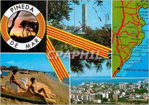 Moderne Karte Salutations de Pineda de Mar