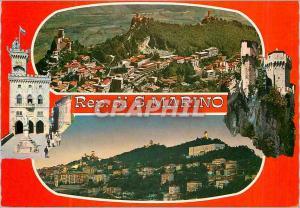 Moderne Karte Repubblica di San Marino Vue de l'Avion du Mont Titano Vue de la Ville la Nuit