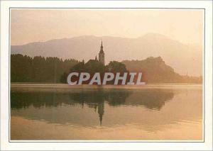 Moderne Karte Yugoslavia Bled L'Eglise Sainte Marie du Lac