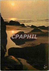 Moderne Karte Bretagne en Couleurs Maree Basse au soleil Couchant