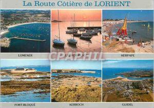 Moderne Karte La Route Cotiere de Lorient Couleurs de Bretagne (Morbihan) Lomener Larmor Plage Kerpape Fort Bl
