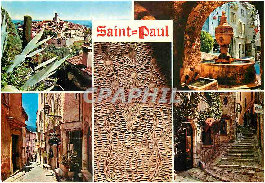 Moderne Karte Saint Paul Cote d'Azur French Riviera Souvenir de Saint Paul 0