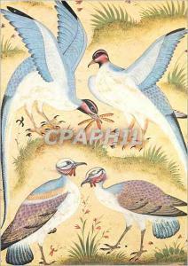 Moderne Karte Paris Musee Guimet Quatre Oiseaux Miniature Inde Ecole Moghole XVIIIe siecle Gouache sur Papier
