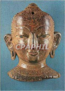 Moderne Karte Paris Musee Guimet Tete Bouddhique Nepal XVIe siecle env Bois Polychrome