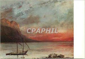Moderne Karte Vevey Musee Jenisch Courbet Gustave Coucher de Soleil sur le Leman (Don de Mlle Juliette Courbet
