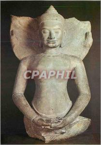 Moderne Karte Paris Musee Guimet Buddha sur le Naga Art Khmer Style du Bayon Gres fin du XIIe siecle