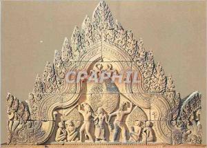 Moderne Karte Paris Musee Guimet Fronton Provenant du Temple de Civa a Banteay Srei art Khmer