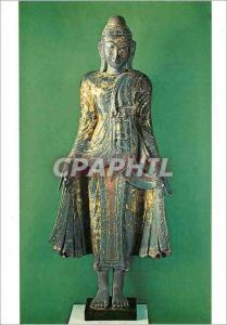 Moderne Karte Paris Musee Guimet Bouddha Birmanie XVIIIe siecle Bois Laque