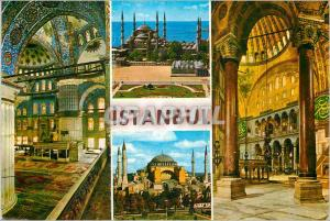 Moderne Karte Istanbul Turkey Sultan Ahmet Mosquet and it's Interior St Sophia Museum and it's Interior