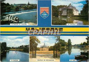 Moderne Karte Malicorne (Sarthe) La Sarthe et l'eglise Le ch�teau La Sarthe Le pont